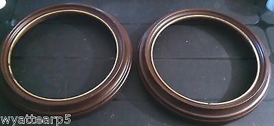 """Lot of 2 Simulated Wood Wall Hanger Collector Plate Frame 9""""OD 7 5/8"""" ID"""