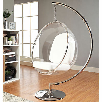 Eero Aarnio Standing hanging Bubble Chair W/stand & white or silver PU Cushion