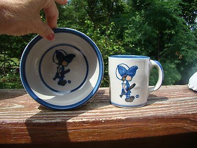 Vintage Louisville Stoneware CHILD'S MUG AND CEREAL/SOUP BOWL -- MADE IN THE USA