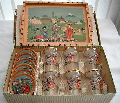 Vintage Japanese drinks set, wood tray, 6 wood coasters, 6 small tumblers Boxed