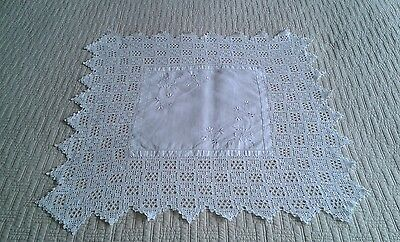 vintage white linen and lace tea cloth
