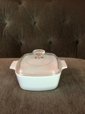 Vintage Corning Ware White Covered Casserole A 1 1/2-B 1.5 liter VGC