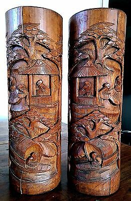 Vintage Chinese hand carved bamboo brush pots