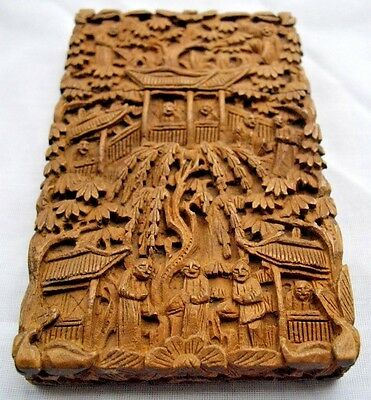 Fine 1900's Asian Antique Chinese Japanese Hand Carved Wood Card Case Canton Box