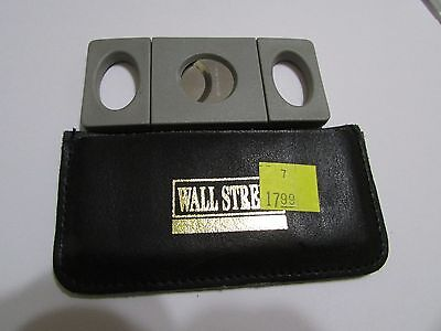 CIGAR CUTTER WALL STREET Stainless Steel + Black Vinyle Pouch New