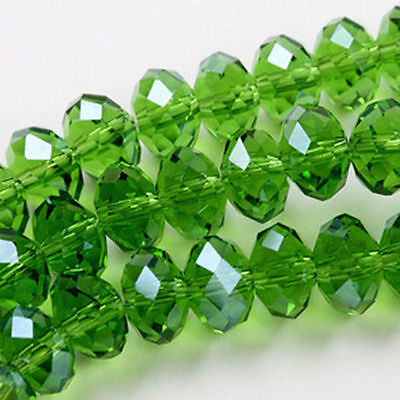green 6x8mm Rondelle Faceted Cut Crystal Glass 70 PCS
