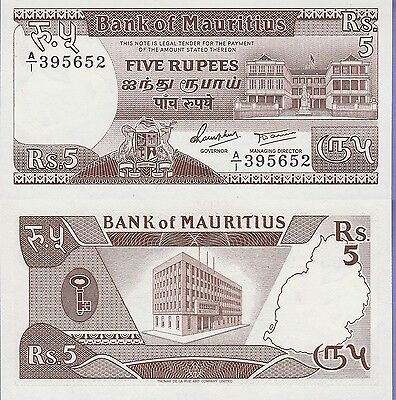 Mauritius 5 Rupees Banknote 1985 Uncirculated Condition Cat#34-5652