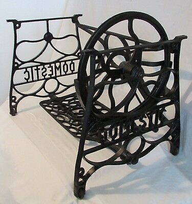1898 Domestic Treadle Sewing Machine Frame Table Cast Iron Short Base Industrial