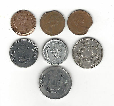 23. A Lot Of 7 World Coins Each With Errors - Clips, Off Centers +