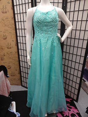 Beautiful Vintage prom dress AQUA Blue green embroidered wedding gown polo S M