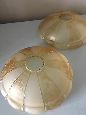 Vintage Art Deco Glass Shades Amber Frosted Patterned