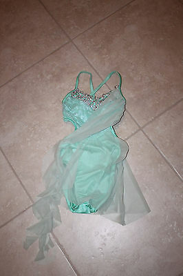 Kelle' Child Medium Dance Competion Costume in Mint Green