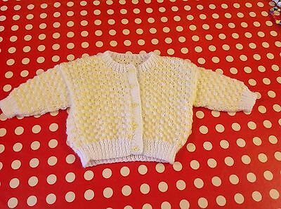 NEW Hand knit baby cardigan 6 - 9 months lemon and white