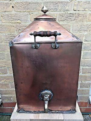 Unusual 19th C. Antique Copper Tea / Hot Water Urn with Two Brass Taps 5.7kgs