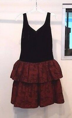 VINTAGE 80's Deep Burgundy Velvet & Brocade Ruffled Party Dress Sz XS