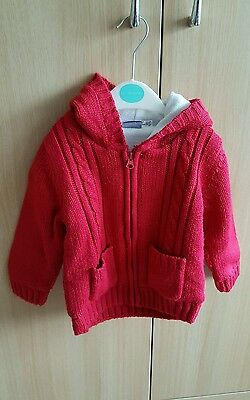 Boys 1-2yr knitted zipped cardigan with hood