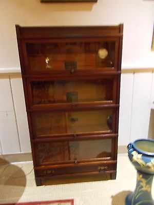 MAHOGNEY Globe Wernicke 4 Stack ART MISSION Barrister/Lawyers Sectional Bookcase