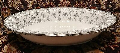 SPODE china FLEUR DE LYS Y7515 Grey OVAL VEGETABLE Serving BOWL 9 7/8""