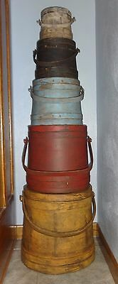 Large Stack of 5 Old Painted Firkin-Sugar Bucket-Graduated Sizes