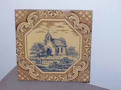 Antique Minton Hollins & Co. Tile Works Stock On Trent Old Church Transfer Ware
