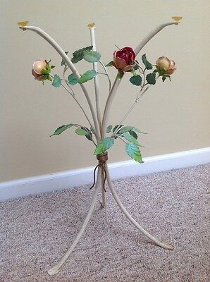 Vintage Italian Toleware Table Base With Roses