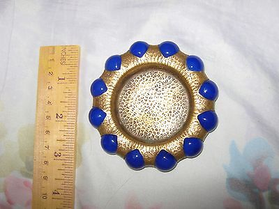 Akro Agate Cobalt Blue Glass Marble Ashtray,marked Fisher Jewel Tray