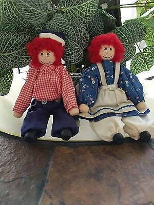 Raggedy Ann and Andy vintage handmade clothespin dolls ornaments