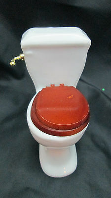 Dollhouse Miniature 1/12th Scale White Ceramic Toilet with DK Brown Wood Seat