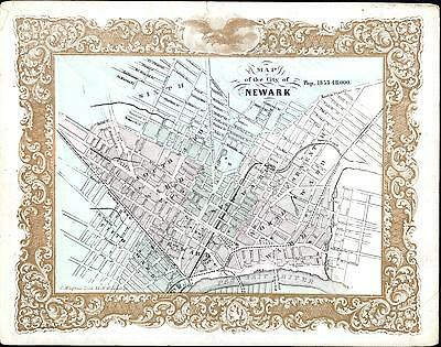 Newark New Jersey w/ 1853 population rare original Magnus map city plan gold ink