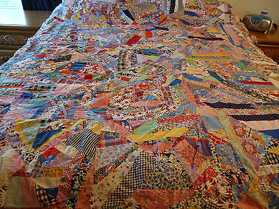 Vintage Crazy Patchwork Quilt Top All Hand Stitched
