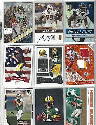 Football Autograph Auto Rookie Jersey Patch Card Lot Goff Rodgers Farve Marino