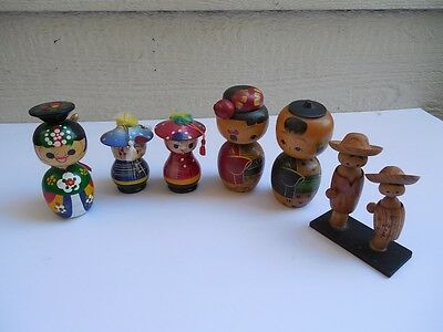 "6 X  Wooden Hand Carved PAINTED Figurines Korean KOREA 4 3/4"" + - MOVABLE HEADS"