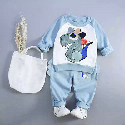 Toddler Kids Baby Boys Outfit Long Sleeve T-shirt Top Sweater+Pants Clothing Set