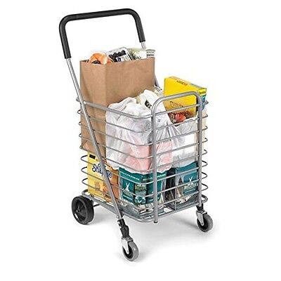 Folding Grocery Laundry Bag Shopping Cart 4 Wheel Silver Cart Utility Lightweigh