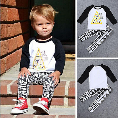 Baby Toddler Kids Spring Autumn T-Shirt Tops+Geometric Pants Clothes Set Outfits