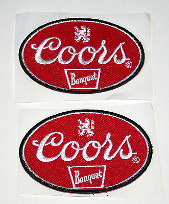 Set of 2 Coors Banquet Brewing Beer Distributor Cloth Patch 2000s NOS New