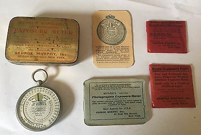 Wynne's Infallible Photographic Exposure Meter, tin, booklets, film