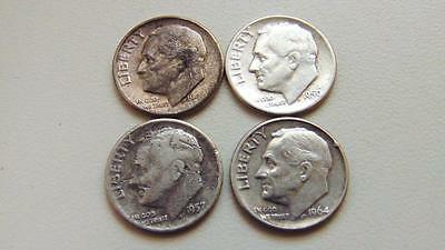 2939. 1946, 1950, 1957 S, 1964 D,  Roosevelt Dimes - Very Nice Coins