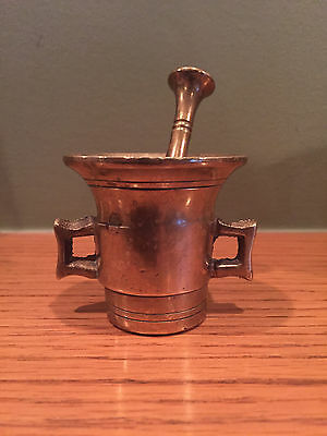 Vintage Small Brass Mortar and Pestle Pharmacy Apothecary