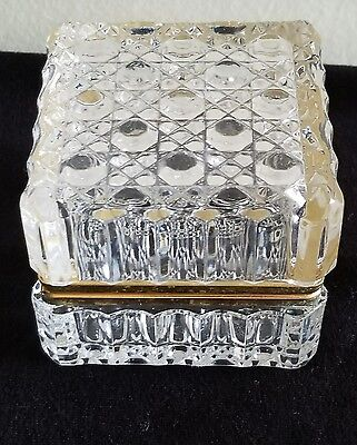 Vintage French clear crystal hinged Trinket Box Jewelry casket Estate