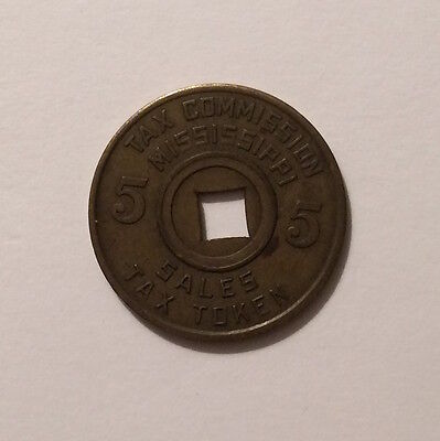Vintage Tax Commission Mississippi Sales Tax Token, 5 Cents
