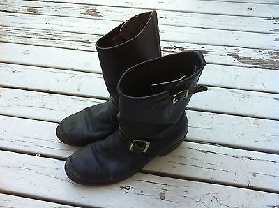 Vintage Engineer Black Leather Motorcycle Boots Size 8 Gro Cord Tapper soles