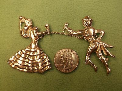 "Rare Pair Of Silver Vtg Antique ""chained"" Brooches, Spanish? Man & Lady Dancers"