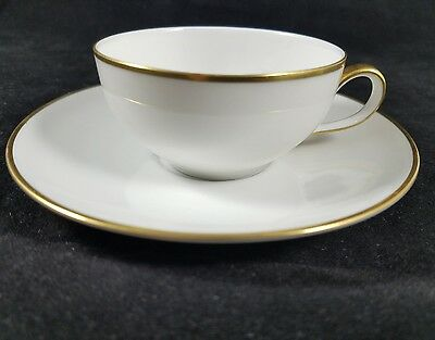 Rosenthal Thomas Germany Tea Cup Saucer Demitasse White Gold Vintage Lacroix