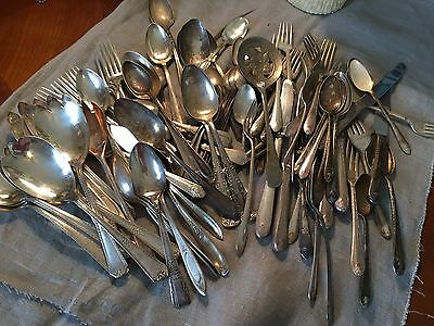 Vintage Silverplate Flatware Craft Lot --price reduced!