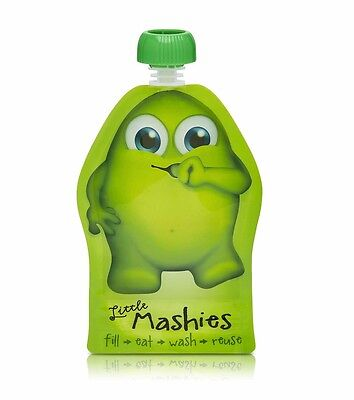 NEW Little Mashies Reusable Food Pouches - Green - 2 Pack