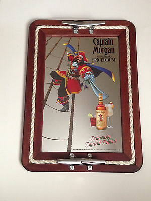 Captain Morgan Spiced Rum Bar Mirror Tray with Rope Man Cave VTG
