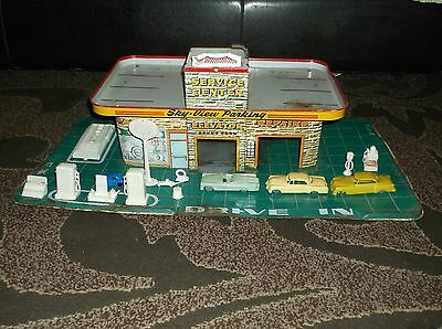 """Vintage Marx Tin Litho Vehicle Garage Play set With Parts / Pieces 26"""" x 15"""""""
