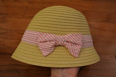 Girl's Infant GYMBOREE Straw Sun Hat with Pink White Bow 0-12 months NWT