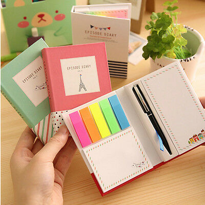 11X8 CM Student's Diary Notebook, Sticky Notes Memos Blank Paper Pen